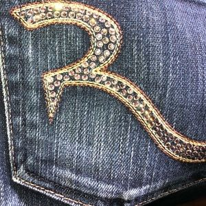 Rock & Republic Bootcut Jeans Crystal Pockets S 27